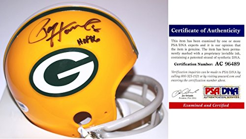 Paul Hornung Signed - Autographed Green Bay Packers THROWBACK 2 Bar Mini Helmet with Hall of Fame Inscription - PSA/DNA Certificate of Authenticity (Paul Hornung Signed Helmet)