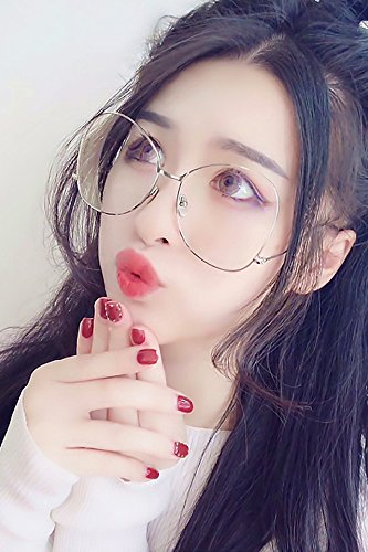 Generic Retro Korean big box metal ball frames ball men and women covered their faces tidal plain mirror glasses frame tide personality by Generic