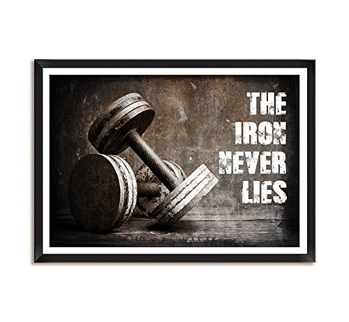 (LAB NO 4 The Iron Never Lies Gym Motivational Quote Framed Poster in (11