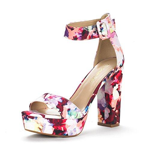(DREAM PAIRS Women's Hi-Lo Floral High Heel Platform Pump Sandals - 9.5 M US)