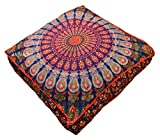 ANJANIYA 35''x35'' Mandala Bohemian Yoga Meditation Large Square Dog Bed Outdoor Floor Pillow Cover Couch Seating Cushion Throw Hippie Decorative Boho Indian Ottoman (Blue Multi)