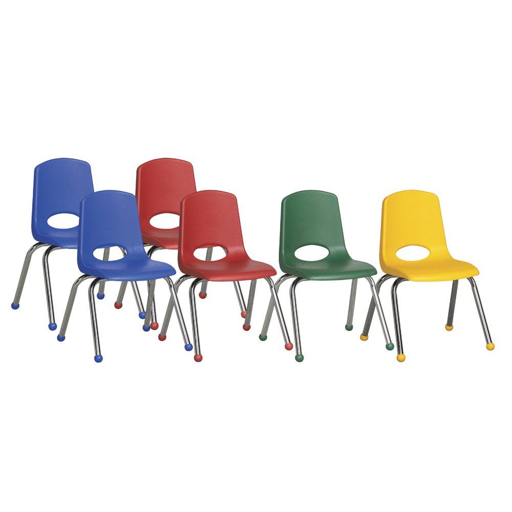 ECR4Kids 16'' School Stack Chair, Chrome Legs with Ball Glides, Assorted (6-Pack)