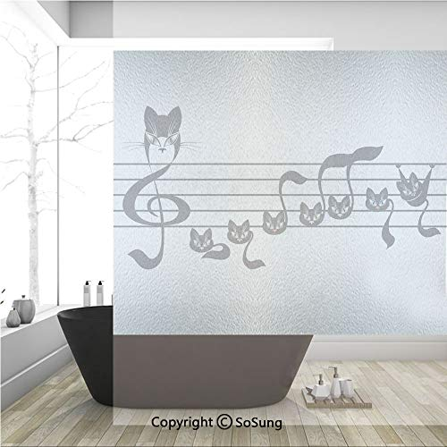 3D Decorative Privacy Window Films,Notes Kittens Kitty Cat