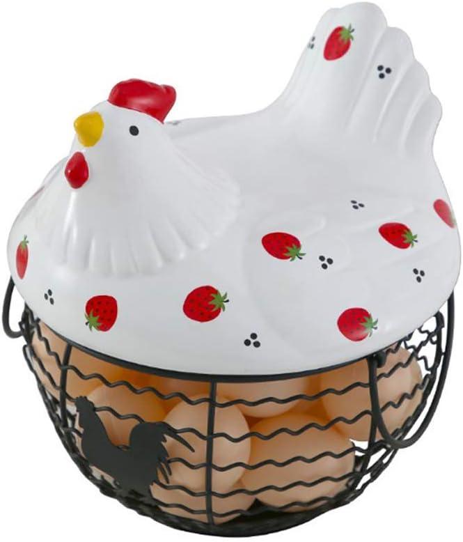 1 Set Egg Holder Storage Ceramic Iron Egg Household Storage Basket Living Room Fruit Storage Basket Kitchen Decoration Strawberry Hen Water Pattern Basket Can Store 25 Eggs