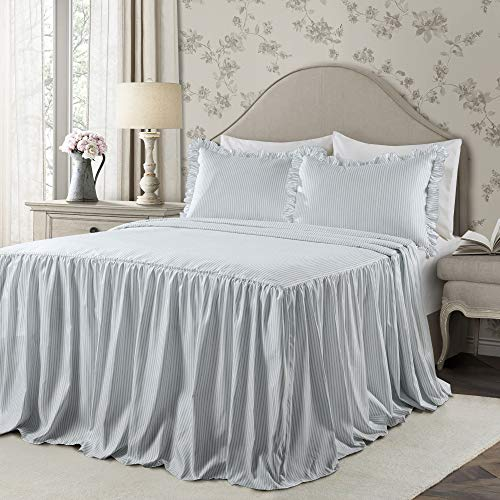 Lush Decor Lush Décor Ticking Stripe Bedspread Lake Blue Shabby Chic Farmhouse Style Lightweight 3 Piece Set Queen, (Blue Bedding Ruffle)