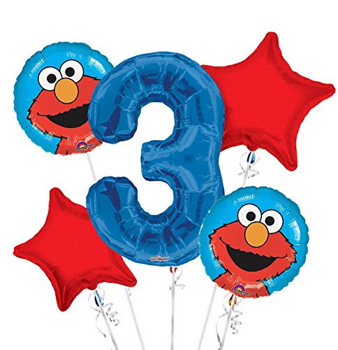 - Sesame Street Elmo Balloon Bouquet 3rd Birthday 5 pcs - Party Supplies