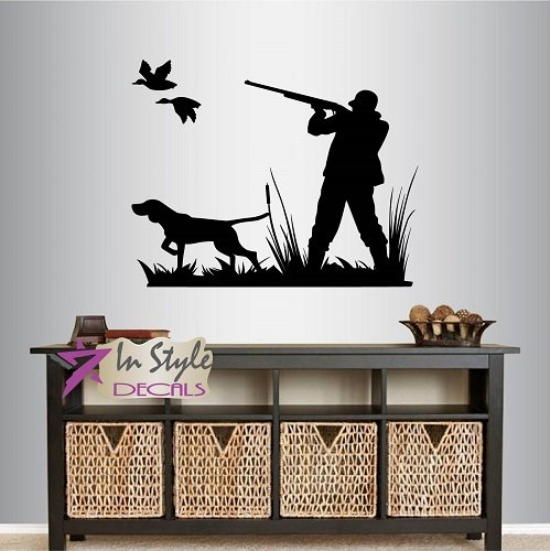 Wall Vinyl Decal Home Decor Art Sticker Duck Hunting Hunter and Dog Man Shotgun Animal Nature Bedroom Livingt Room Removable Stylish Mural Unique Design