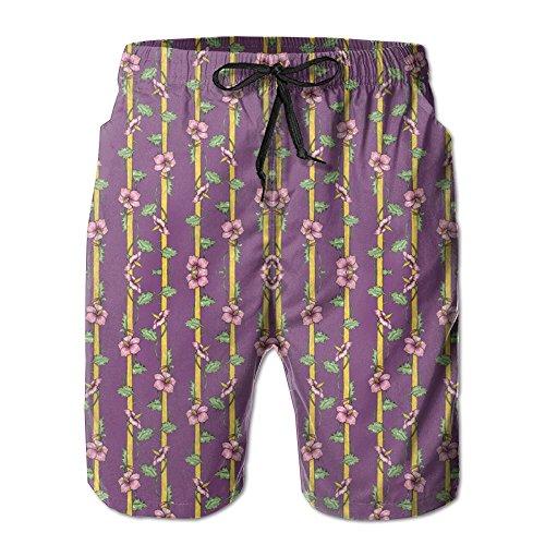 - 3D Print Hibiscus Stripes Shorts Fast Dry Beach Board Shorts Men's Swim Trunks