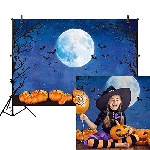 X Halloween Bash (Allenjoy 8x6ft Halloween Backdrop for Photography Watercolor Pumpkin Moonlight Fall Night Children Background Horrible Party Birthday Banner Baby Shower Newborn Decorations Portrait Photo Booth)