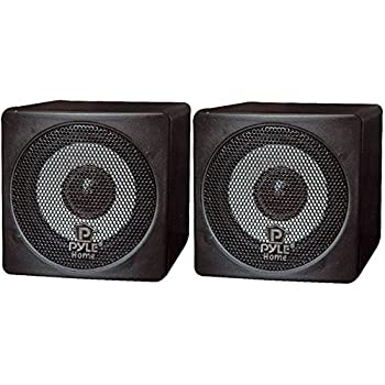 speakers pair. pyle home pcb3bk 3-inch 100-watt mini cube bookshelf speakers - pair (