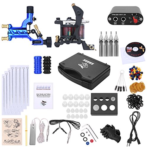 Shark Complete Pro Rotary Tattoo Kit Machines Gun with Plastic Carry Case Power Supply Needles Grips Tips by Shark (Image #6)