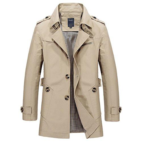 Cotton Military Lightweight Lapel LANMWORN Khaki a Jacket Winter Down Turn Breasted Windbreakers Trenchcoat Slim Softshell Colors Single 8 Overcoat Outdoor Coat Trench Men's Light Warm zqzYXa