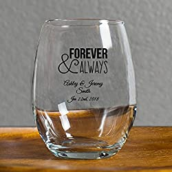 72 Pack Personalized Color Printed Forever and Always 9 oz stemless Wine Glass, Wedding Favor,Party Favor, Anniversary Favor, Personalized Wine Glass, Bridal Shower Favors Black