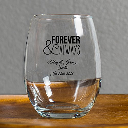 12 Pack Forever and Always Stemless Wine Glasses, 9 Ounce Pe