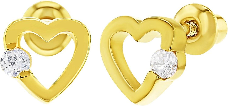 18K Yellow Gold 4 hearts Flower covered screwback earrings