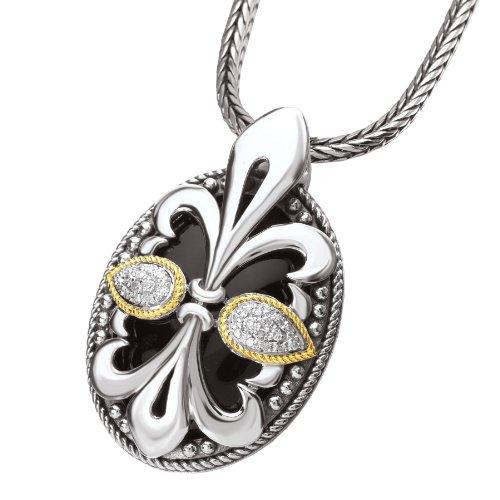 Enchanta Collection Sterling Silver & 18K Black Onyx and Diamond Fleur de Lis Oval Pendant
