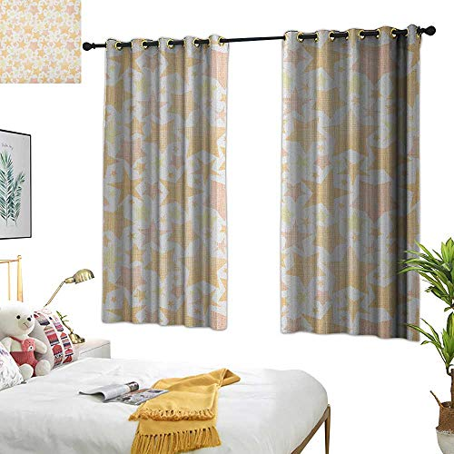 Warm Family Curtain Stars,Abstract Pattern of Stars with Lines Vintage Heavenly Bodies Silhouettes, Pale Yellow Marigold 72