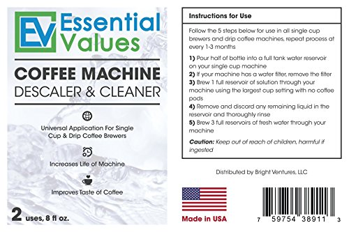 Essential Values Universal Descaler For Espresso and Keurig Coffee Machines, 2 Pack by Essential Values (Image #6)