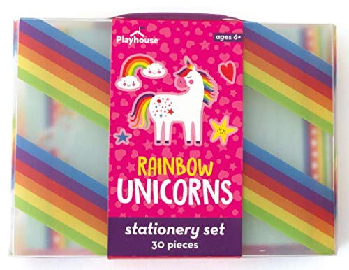 Playhouse 29-Piece Rainbow Unicorn Stationery Tote Set for Kids -