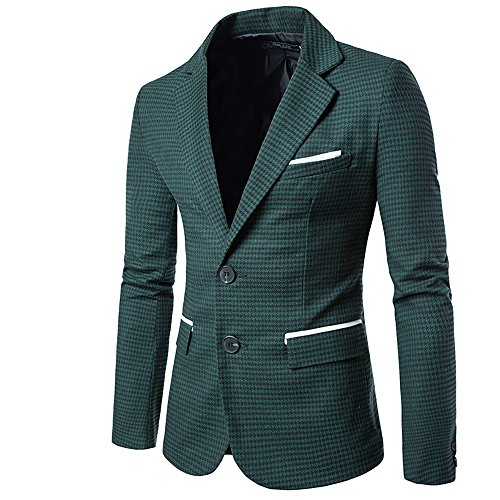 Mens Slim Fit Suit Single Breasted Wedding Suit Jacket Houndstooth Blazer Green ()