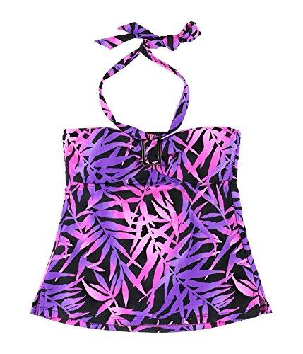 Island Escape Tahiti Tropical Print Bathing Suit Bandini Top (8, Purple)