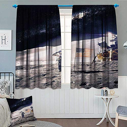 Anniutwo Space Waterproof Window Curtain Astronaut on Moon w