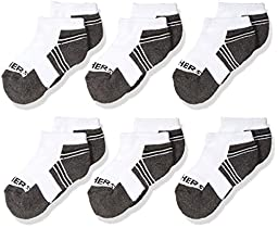 Skechers Kids Big Boy\'s 6 Pack 1/2 Terry Low Cut Socks, White Traditional, 7-8.5