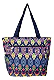Large Multi - Pocket Fashion Zipper Top Beach Bag Tote - Custom Embroidery Available (New Bohemian)