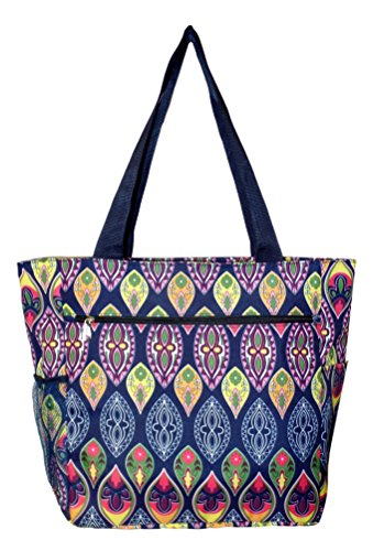 Large Multi - Pocket Fashion Zipper Top Beach Bag Tote - Custom Embroidery Available (New Bohemian) by 101 BEACH