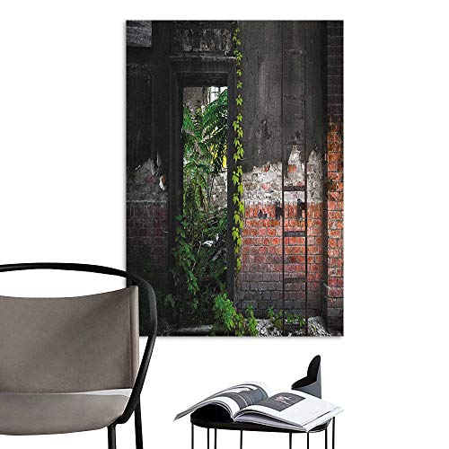 Alexandear Canvas Wall Art Industrial Old Door Opening in a Desolate Industry Building Brick Wall with Ivy Plants Multicolor Elevator Stairs Wall W16 x H20 -