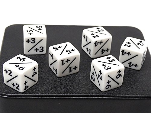 6 Pack of White Dice Counters +1/+1 for MTG Magic The Gathering and Others