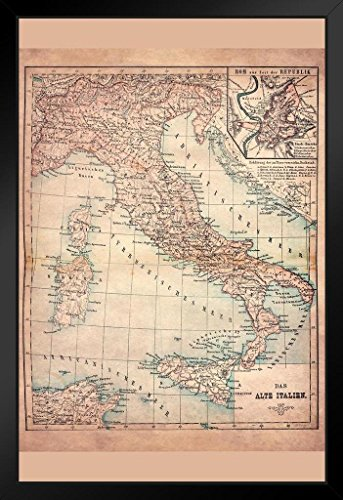 (Old Italy 1883 Historical Antique Style Map Framed Poster 14x20 inch)