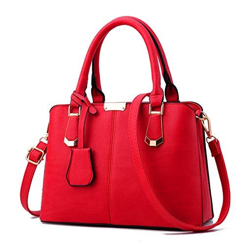 Nueva moda de mediana edad señoras bolso bolsa bandolera, rojo