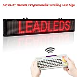 Leadleds 40 Inches Red Color LED Display Board, Remote and USB Programmable Scrolling Message Open Signs Indoor for Business, Store, Coffee and Bar