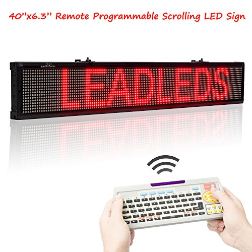 Leadleds 40 Inches Red Color LED Display Board, Remote and USB Programmable Scrolling Message Open Signs Indoor for Business, Store, Coffee and Bar by Leadleds