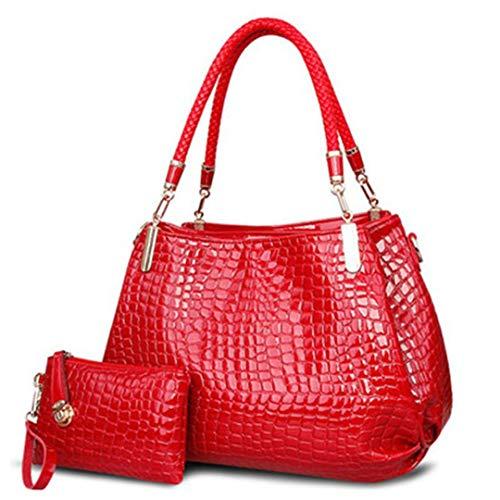 capacité Femmes Sacs Sac main Totes bandoulière à Crocodile sac Red grande Borse main portefeuille à Lady à CnqtnUS