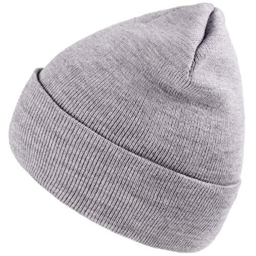 Camptrace Cuffed Beanie Skull Knit Hat Soft Warm Winter Hat Knit Men Women Plain Cuff Ski Skull Cap Light Grey