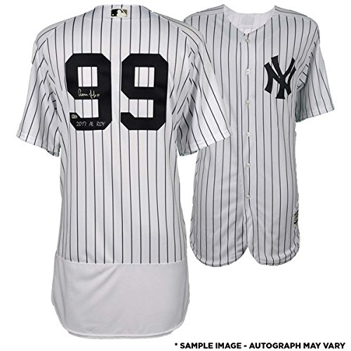 AARON JUDGE New York Yankees Autographed Majestic White Authentic Jersey with 2017 AL ROY Inscription FANATICS ()