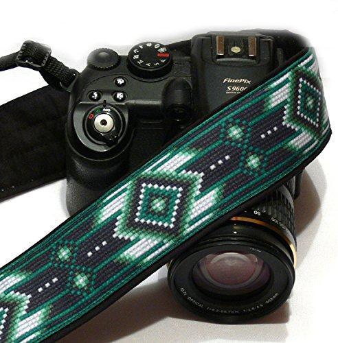 native-american-camera-strap-inspired-dslr-camera-strap-black-and-green-camera-strap-camera-accessor