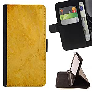 For HTC One M8 Case , Fondo amarillo- la tarjeta de Crédito Slots PU Funda de cuero Monedero caso cubierta de piel