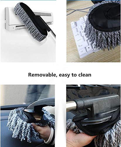Lupure Car Big Duster Wash Brush, Long Retractable/Soft/Non-Slip/Handle to Trap Dust and Pollen Microfiber Exterior Interior Wash Cleaner Brush,Grey by Lupure (Image #4)