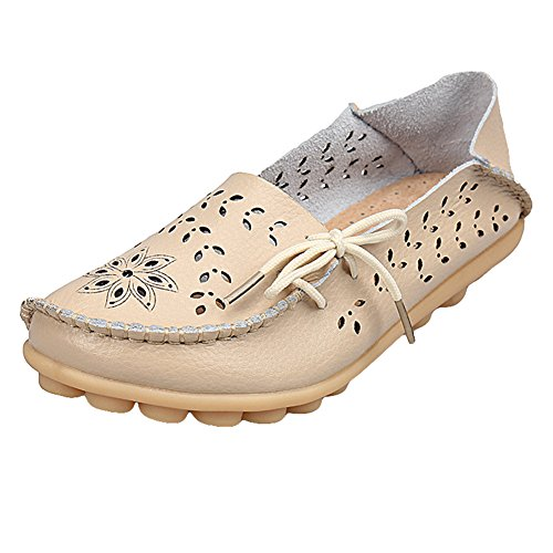 Juleya Womens Moccasins Shoes Faux Leather Loafers Flats Comfort Hollow Slip-On Boat Shoes Fashion Summer Driving Shoes Casual Sandals Walking Pumps 35-44 Beige AKc8wo