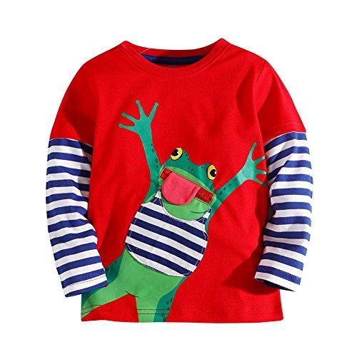Hongshilian Boys Long Sleeve Cotton Shirt Cartoon Print T-Shirt(Frog & Red,11-12Yrs) (Frog Long Sleeve Shirt)