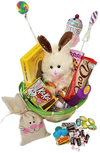 Lots of Chocolate Easter Basket for Kids and Adults - Chocolate Scented Stuffed Bunny - Fun Easter Activity Basket Stuffers - Loaded with Real Solid Chocolate Easter Basket Stuffers - Boys and (Stuffed Chocolate)