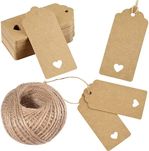 100 Pcs Kraft Paper Tags with String for Wedding Gift Tags with Holes for Price Tags, Gift Wrapping, Hang Tags, DIY Crafts, Thanksgiving, Christmas, Holiday, Party
