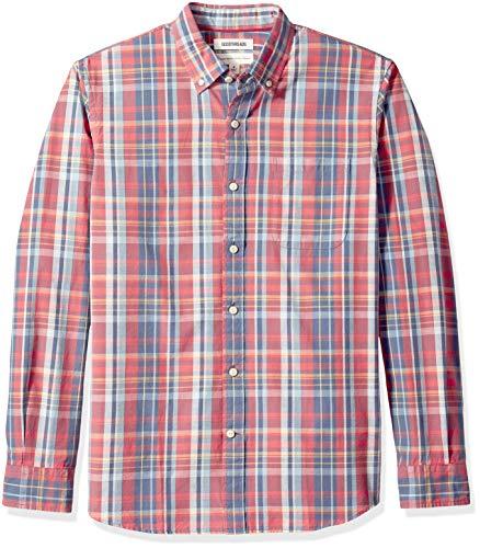 Goodthreads Men's Standard-Fit Long-Sleeve Plaid Chambray Shirt, Red Denim Plaid, Medium