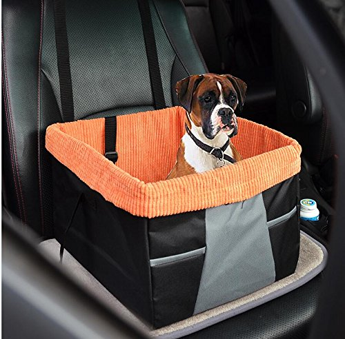 30 Lb Bucket (Dog Booster Seat Bucket Booster Seat Carrier Pet Lookout Booster Seat with Seat Belt Tether Nonslip Backing Design for All Car)