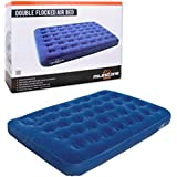 Milestone Double Flocked Air Mattress Bed, Blue