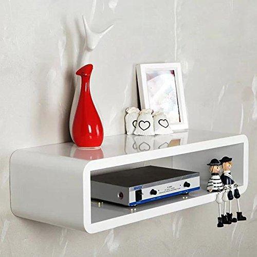 Popamazing White Floating Wall Mount Shelf Cube Sky Box DVD HIFI Stunning Floating Hi Fi Shelves