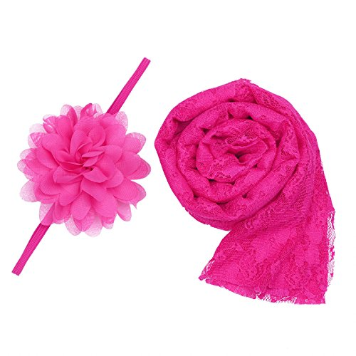 Iiniim Newborn Baby Lace Wrap Cloth Photography Props Blanket with Headdress Flower Rose One Size